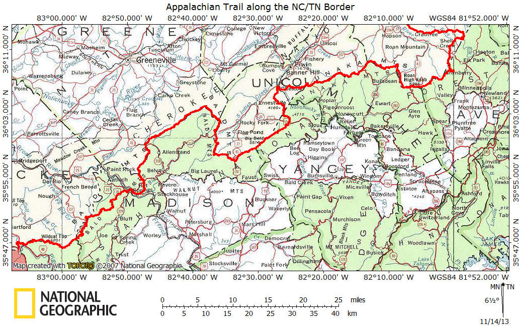 Appalachian Trail Along NCTN Border - Map of us hiking trails