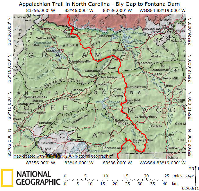 AT In NC Bly Gap To Fontana Dam - Appalachian trail us map