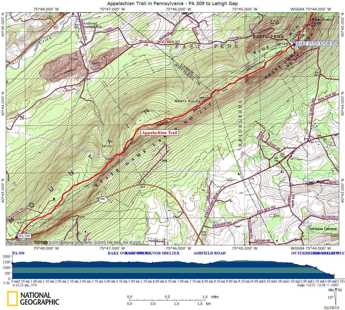 AT In PA PA To Lehigh Gap - Appalachian trail shelters map