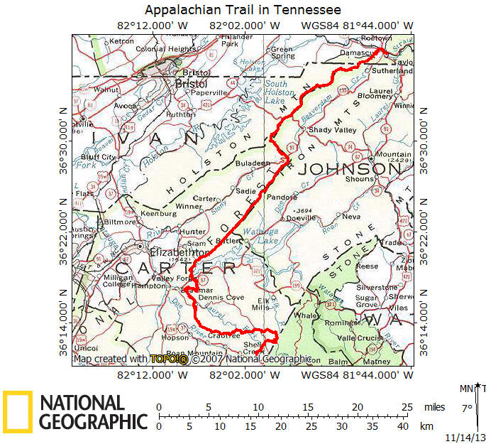ATinTennesseeTrailMapjpg - Appalachian trail shelters map