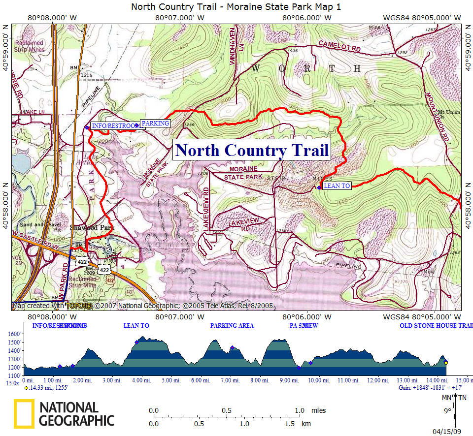 maps of the north country trail in moraine state park. nct in pa moraine state park