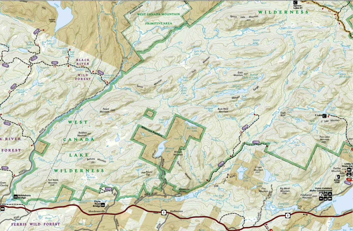 West Canada Lakes Wilderness - Map of canada and lakes
