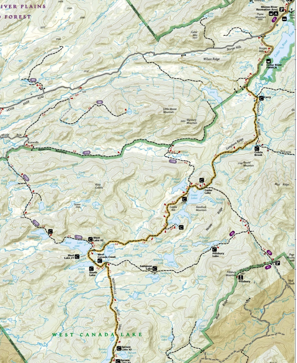 West Canada Lake Wilderness Map West Canada Lakes Wilderness