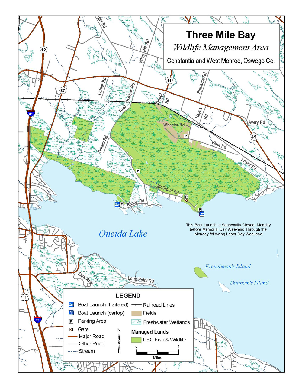 Three Mile Bay Wildlife Management Area Map